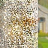 Rabbitgoo Anti-UV 3D statisch haftend Fensterfolie Dekofolie Sichtschutzfolie Fensterschutzfolie-Kreise Muster-90*200cm