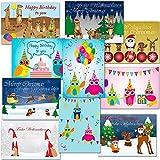 10 Postkarten - Mix Weihnachten + Geburtstag Eulen, Erdmännchen, Waldtiere ... PKmixWeGe10-2