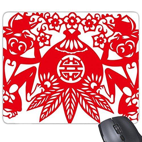 Chinesische Pfirsich (China Chinesisches Sternzeichen Affe Pfirsich Papercut Traditionelle Kultur Kunst Fenster Blumen Rechteck rutschfeste Gummi Mauspad Spiel Maus Pad Geschenk)