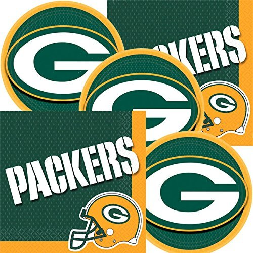 NFL Football Team Logo Teller und Servietten dient 16, Packers, Einzelpackung (Nfl Party Supplies)