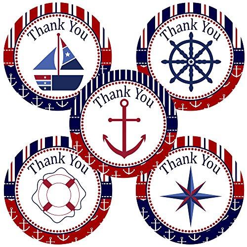 Adorebynat Party Decorations - EU Duschen-Party Hochzeit Geburtstag Baby - - Navy und Red Nautical danken Ihnen Aufkleber Etiketten Satz von 30 (Braut-dusche Ihnen Danken)