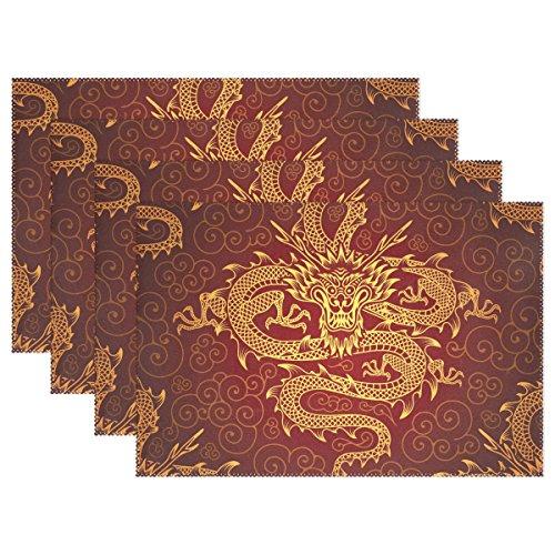 naanle Traditionelle Platzsets, asiatische Japanische Dragon hitzebeständig waschbar Tischset für Küche Esstisch Dekoration, Polyester, mehrfarbig, 30*46 cm