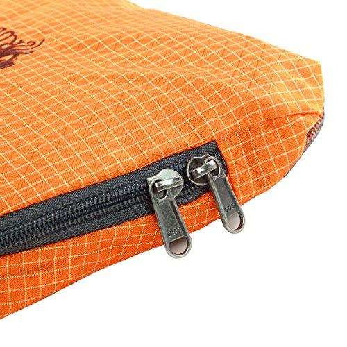 RULOTE 002 Männer Schultertasche Verstellbare Umhängetasche Reißverschluss Echtleder Leder Nylon Tuch Rechteckige Tasche 29 * 25 * 8cmcm orange