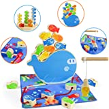 Gioco in Legno di Pesca 4 in 1 Giochi Montessori Stacking Magnetico Giocattolo Impilabile Giochi Educativi dell Equilibrio Mi