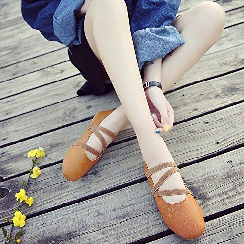 Bbslt-dans Les Étudiants De Printemps Avec Une Base Plate Chaussures Simples Bretelles Chaussures Dansent Léger Et Polyvalent Brown