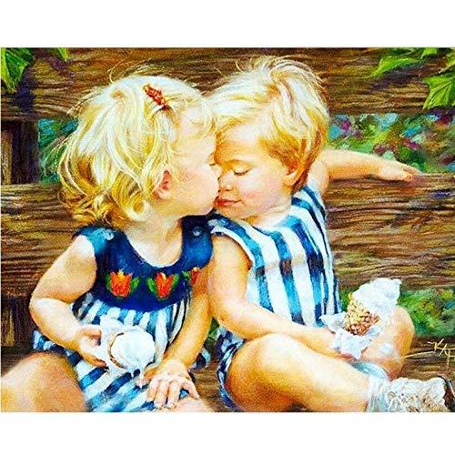Guyuell Diy Ölgemälde Acrylbild Küssen Baby Diy Malen Nach Zahlen Kit Färben Malen Nach Zahlen Moderne Wandkunst Bild-40 * 50Cm,With Frame