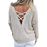 Sfit Femme Sweater Pull Tops Manches Longues Pullover Tricots Chandail Dos Nu Casual pour Printemps Automne Hiver