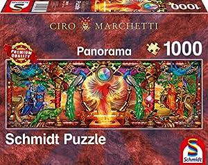 Schmidt Spiele Puzzle 59615 Ciro Marchetti, en el Reino del pájaro de Fuego, Puzzle panorámico de 1000 Piezas, Multicolor