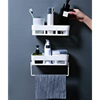 Wolpin Plastic Rectangular Multipurpose Wall Shelves with Towel Hanger Shelf Self-Adhesive Sticker Hooks Wall Holder…