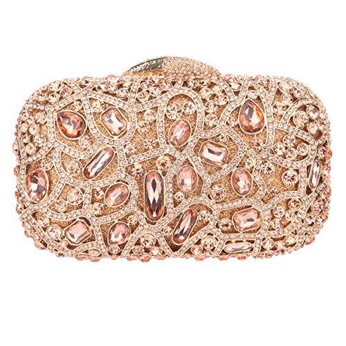 Bonjanvye Bling Evening Clutch Purse For Wedding Handbags For Girls Black Rose gold