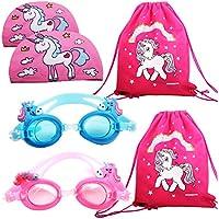 Gafas de natación para niños de unicornio con 2 piezas de unicornio para respirar y gorra de natación y 2 bolsas de unicornio, paquete de 6, gafas de natación para niñas y jóvenes de 3 a 15 años de edad, antiniebla, para niños de 3 a 15 años de edad