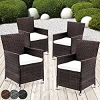 Miadomodo Garden Furniture Set of 4 Polyrattan Chairs & Seat Cushions Washable (Brown)