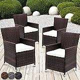 MIADOMODO Rattansessel mit Armlehne Stuhl Sessel Garten Stuhl Rattan Outdoor im Set 4 Stück mit Sitzkissen in Verschiedenen Farben (Braun)