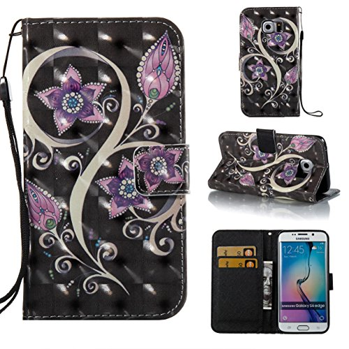 Galaxy S6 Edge Hülle, PU-Leder Brieftasche Fall Durable Magnetic Case Cover Kreditkarteninhaber schützende Buch Fall Weihnachten Halloween Geburtstagsgeschenk für Samsung Galaxy S6 Edge-Purple