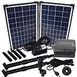 Agora-Tec® AT-20W-BL Beleuchtete Solar Teichpumpe 20 Watt mit Akku und 6 fach LED Ring, Hmax.: 1350l/h Fontainenhöhe: 2,50m für Gartenteich oder Springbrunnen