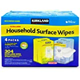 Kirkland Signature Household Surface Wipes Extra Large - Case of 4 Pack, 304 Wet Wipes