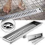 304 Edelstahl Ablaufrinne 40x10CM Duschablauf Duschrinne Gitter Badezimmer Bodenablauf für Badezimmer
