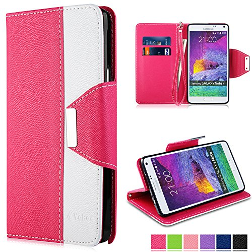 Preisvergleich Produktbild Note 4 Hülle - Vakoo Bookstyle Schutzhülle Flip Case Premium PU-Leder Tasche Hülle für Samsung Galaxy Note 4 (Rosa Weiß)