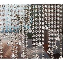 10m Guirnalda con Colgantes de Cristal Acrílico Clear octogonal de acrílico del grano Garland decoración de boda Cortina Decorativa Nupcial y de Fiesta (clear 2)