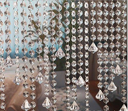 10M Türvorhang Kristall Girland Crystal Clear Acrylic Bead Garland Türvorhang hängende Partei Dekor Hochzeit DIY Dekor Anhänger Perlenvorhang ( mit Kristallen Diamant )