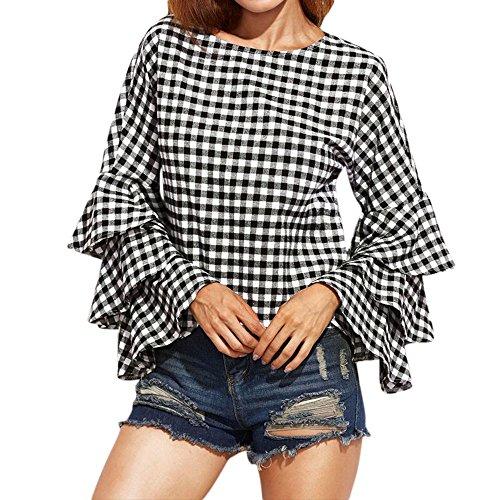 PinkLu Lange ÄRmel Damen Glocke ÄRmel Kariertes Hemd T-Shirt Oben Einfach Und Bequem Slim Fit Mode Wild FrüHling Und Sommer HeißEr Schwarze Lange ÄRmel