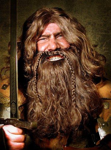 arty Kostüm Zwergen Vollbart mit Perücke Zwergenbart (Zwerg Kostüm Der Hobbit)