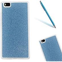 "Huawei P8Lite Funda, Huawei P8Lite Carcasa Suave TPU CLTPY Bling Glitter Sparkle Caja Protectora Parachoques Transparente Cubrir Back Resistente a los arañazos Case para el 5.0"" Huawei P8Lite (No Huawei P8) + 1 x Aguja - Azul"