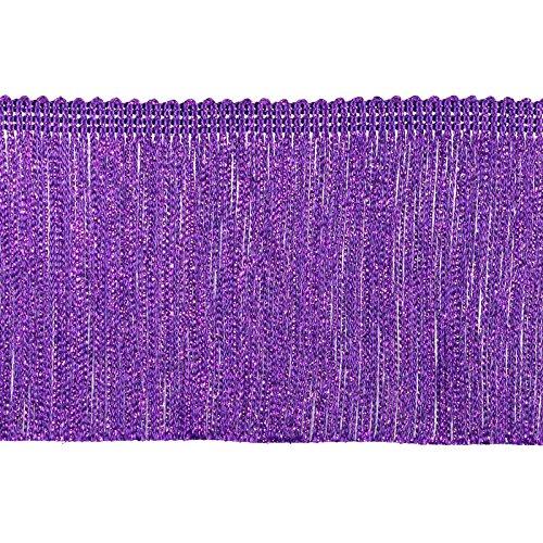 Tanz Flapper Kostüm Fringe - Dekorative Besätze 100% Rayon Chainette Fransen, 10,2cm X 9YD, Violett-Metallic