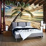 FORWALL Fototapete Tapete Strand P8 (368cm. x 254cm.) Photo Wallpaper Mural AMF11732P8 Gratis Wandaufkleber Strand Palmen Sand Sonne Himmel Tropen Meer Wasser