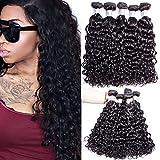Maxine 7A Hair 3 Bundles Virgin Brazilian Hair Water Wave hair Cheap 7a Hair Weave Virgin Natural Color Human Hair Extension(28 28 28inch)