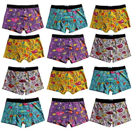 4-8-12er Set Kinder Jungen Boxershorts Baumwolle Pesail Unterhose Retropants Gr.92-104,110-122,128-134,140-146 (128-134, 12er) (Jungen Boxershorts)