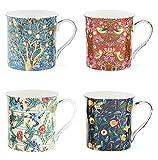 William Morris Vögel Becher-set - Tee / Kaffeetasse 4er set Geschenk Verpackt