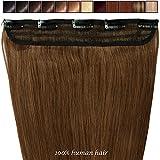 40-55CM Une Pièce Extensions de Cheveux Humains à Clips Naturel - 100% Remy Hair (40cm-45g, #06 Marron clair)