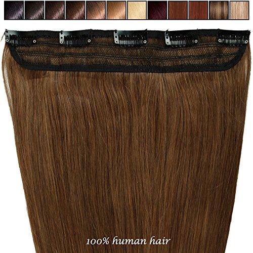 S-noilite® Extensiones de clip de pelo natural cabello humano #06 Marrón claro - 100% Remy hair – 1 piezas 5 clips (40cm-45g)