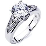 Platinum Plated Sterling Silver Ring 2 carat Round CZ Stone V Pave Design Band Solitaire Wedding Engagement Ring (Size 5 to 9