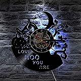 Unbekannt Lyq 12' Eule Tiere Liebe Hoo Sie Sind Led Vinyl Uhr Mauer Licht Jahrgang Hintergrundbeleuchtung Modern Handarbeit Dekor Lampe Fern Regler