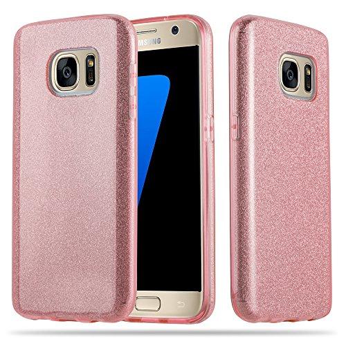 Cadorabo Hülle für Samsung Galaxy S7 - Hülle in Sternenstaub Pink – TPU Silikon und Hardcase Handyhülle im Glitzer Design - Hard Case TPU Silikon Schutzhülle