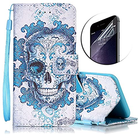 iPhone 7 Plus Hülle,iPhone 7 Plus Ledertasche,Sunroyal Kunstleder Flip Case Schutzhülle Rot Blau Cool Elegant Retro Cartoon Baum Muster Painted PU Leder Wallet Case Flip Cover im Bookstyle Handytasche Skin Schale Brieftasche mit Strap Magnetverschluss Standfunktion und Karte Halter Etui Handyhülle für iPhone 7 Plus (5.5 Zoll)+ 1 x Frei Displayschutzfolie-Tree