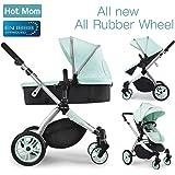 Chariot poussette Hot Mom 2018 combine avec nacelle et siège enfant 889, Vert