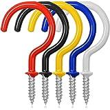 FineGood 25 stuks bekerhaken plafondhaken, 2,9 inch, vinyl gecoate schroevendraaier voor binnen en buiten, wit, rood, blauw,