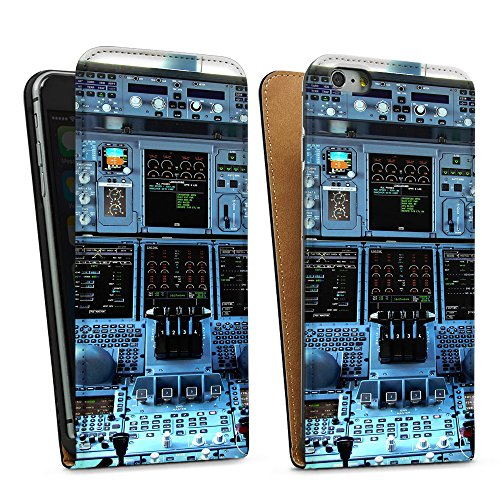 """artboxONE Handyhülle Apple iPhone 5s, weiß Silikon-Case Handyhülle """"Cockpit Airbus A380 Case"""" - Sport - Smartphone Silikon Case mit Kunstdruck hochwertiges Handycover von Alexis von Croy Downflip Case schwarz"""