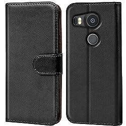 Verco Nexus 5X Hülle, Handyhülle für Google Nexus 5X Tasche PU Leder Flip Case Brieftasche - Schwarz