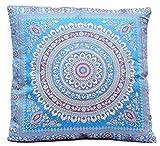 Blau Indische Seide Wohnzimmer Deko Kissenbezüge 40 cm x 40 cm, Extravaganten Design für Sofa & Bett Dekokissen, Kissenhülle aus Indien (Angebot gültig nur für ein Woche)