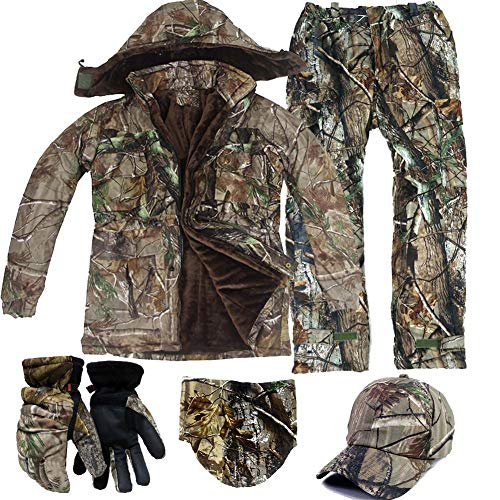 JXS-Outdoor Jagd Jacken wasserdicht Jagd Camouflage Hoodie, Winter warm Angeln Kleidung wasserdicht und Winddicht warm Angeln Kleidung, zum Angeln Jagd