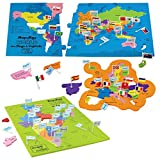 #2: Mapology Combo - Map of India and World - with Capitals and Flags of Countries - Educational Toys for Boys and Girls - Great Birthday Gift