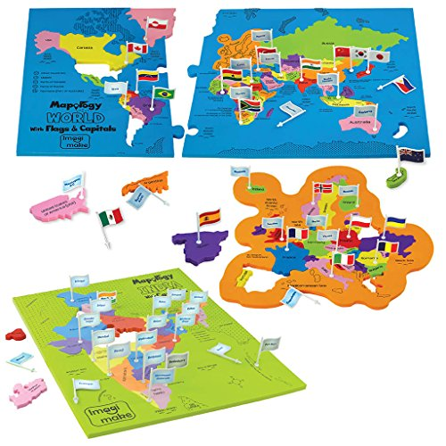 Mapology Combo - Map of India and World - with Capitals and Flags of Countries - Educational Toys for Boys and Girls - Great Birthday Gift