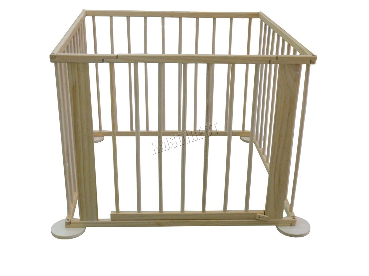 WestWood Portable Baby Child Children Foldable Playpen Play Pen Room Divider Wood Wooden 4 Side Panel Heavy Duty New WestWood High quality baby play pen with door; Can be used as a room divider (all brackets and screws provided); Feet have a rubber base to prevent scratched floors; 2