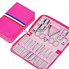Idea Regalo - ZJYUAN Set Manicure 18 Pezzi,Manicure Set In Acciaio Professionale,Set-Tagliaunghie Pulitore Cuticola Grooming Kit(Rosa)