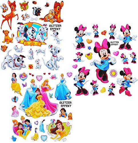 alles-meine.de GmbH 20 TLG. Set - 3-D Effekt - Glanz - Sticker / Aufkleber -  Disney Minnie Mouse / Princess / Tiere  - Soft Touch - selbstklebend / auch für Textilien & als Ki.. (Disney Princess Möbel-set)