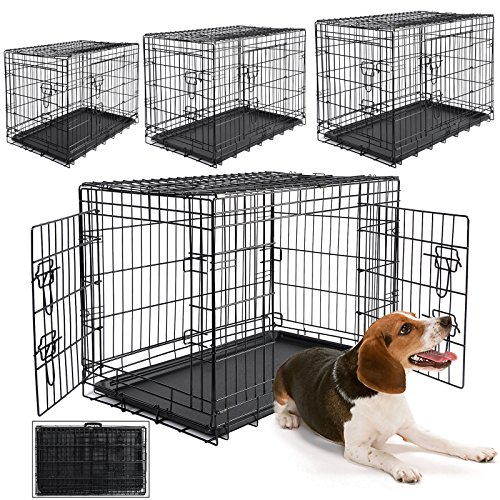 WOLTU HT2030m1 Hundebox Faltbar Hundetransportbox Transportbox Reisebox Tier Box Katzenbox Metall,76x48x54cm, M